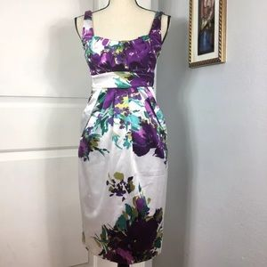 INTRIGUE White Purple Floral Sheath Dress Size: 4